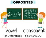 opposite wordcard for vowel and ... | Shutterstock .eps vector #568914100