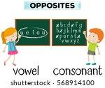 opposite wordcard for vowel and ... | Shutterstock .eps vector #568914100