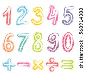 colorful numbers from zero to... | Shutterstock .eps vector #568914388