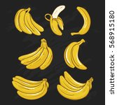 yellow bananas vector... | Shutterstock .eps vector #568915180