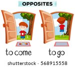 opposite words for come and go... | Shutterstock .eps vector #568915558