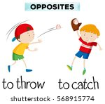 opposite words with throw and... | Shutterstock .eps vector #568915774