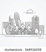Linear illustration of Abu Dhabi, United Arab Emirates. Flat one line style. Trendy vector illustration, Greatest landmark - Sheikh Zayed Mosque. Editable strock