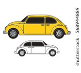 bug shape old car in yellow  ... | Shutterstock .eps vector #568944889