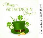 clover with grass  golden coins ... | Shutterstock .eps vector #568945078