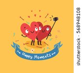 two happy hearts making selfie... | Shutterstock .eps vector #568948108