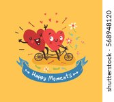 two happy hearts biking with... | Shutterstock .eps vector #568948120