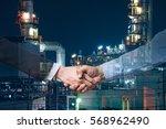 business concept hand shake on... | Shutterstock . vector #568962490
