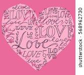 heart love hand written ... | Shutterstock .eps vector #568962730