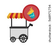 french fries or chips fast food ... | Shutterstock .eps vector #568971754
