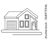 exterior house isolated icon | Shutterstock .eps vector #568975546