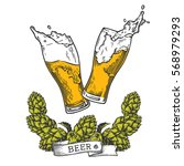 two glasses of beer with wreath ...   Shutterstock .eps vector #568979293