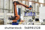 industrial picking robot in... | Shutterstock . vector #568981528