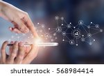 network with mobile phone .... | Shutterstock . vector #568984414