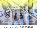 double exposure of coins stack... | Shutterstock . vector #568988944