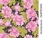 seamless pattern with pink... | Shutterstock .eps vector #568990300