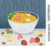 cereal porridge in bowl with... | Shutterstock .eps vector #568998844