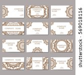 set of business cards. vintage... | Shutterstock .eps vector #569018116