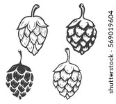 Set Of Hop Icons Isolated On...