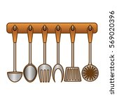 color rack utensils kitchen...   Shutterstock .eps vector #569020396