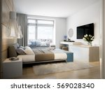bright and cozy modern bedroom... | Shutterstock . vector #569028340