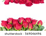 Stock photo bouquet of fresh dark red rose buds frame isolated on white background 569046496