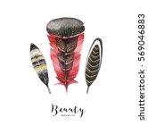 watercolor ethnic card. boho... | Shutterstock . vector #569046883