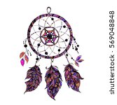 indian dream catcher with beads ... | Shutterstock .eps vector #569048848