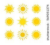 yellow sun icon set isolated on ...