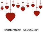 valentine's day hanging hearts... | Shutterstock .eps vector #569052304
