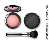 vector blusher in black round... | Shutterstock .eps vector #569059708