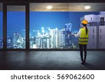 rear view of asian construction ... | Shutterstock . vector #569062600