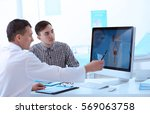 medical concept. doctor showing ... | Shutterstock . vector #569063758