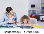 mother and child having problem ... | Shutterstock . vector #569064208