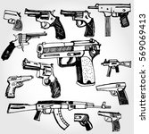 doodled guns   Shutterstock .eps vector #569069413
