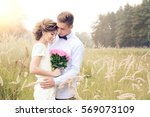 just married husband and wife... | Shutterstock . vector #569073109