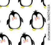 seamless pattern with penguin. ... | Shutterstock .eps vector #569074114