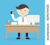 businessman writing a business... | Shutterstock .eps vector #569074420