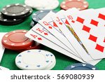 hand of royal flush playing... | Shutterstock . vector #569080939