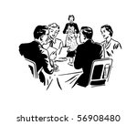 two couples dining   retro clip ... | Shutterstock .eps vector #56908480