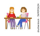 girlfriends sitting at the... | Shutterstock .eps vector #569092624