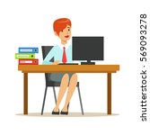 woman working at her desk with... | Shutterstock .eps vector #569093278