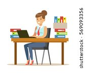 woman working at her desk with... | Shutterstock .eps vector #569093356