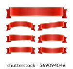 red ribbons set. satin blank...   Shutterstock . vector #569094046