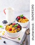 healthy breakfast with corn... | Shutterstock . vector #569095390