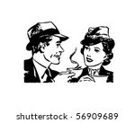 coffee time chat   retro clip... | Shutterstock .eps vector #56909689