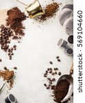 background with assorted coffee ... | Shutterstock . vector #569104660