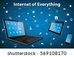 internet of everything concept... | Shutterstock .eps vector #569108170