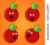 apples. vector set of funny...
