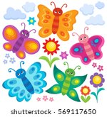 stylized butterflies theme set... | Shutterstock .eps vector #569117650